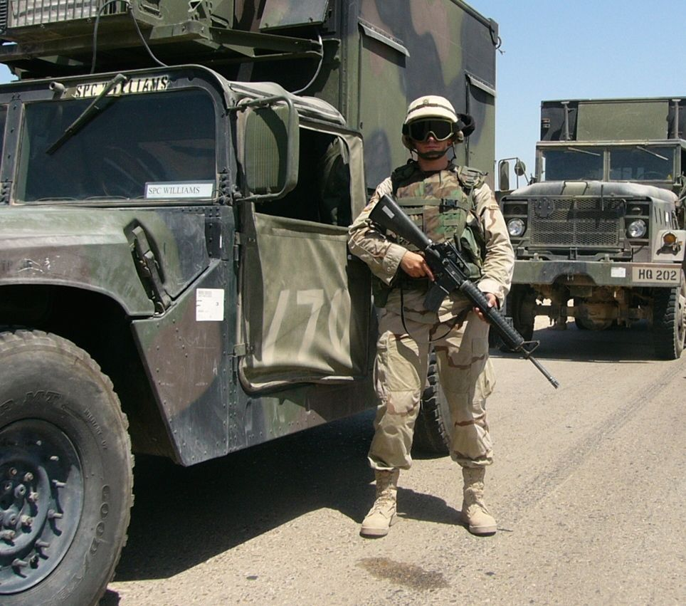 Benjamin Patch guarding a 1st Armored Division convoy in Iraq.